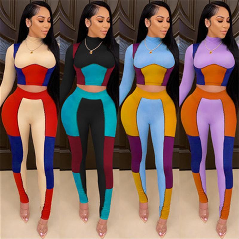 Женские сплайсинг цвета 2 шт. Устанавливает мода Trend с длинным рукавом йога спортивные вершины высокие талии брюки костюмы женские сексуальные фитнес тощий трекии