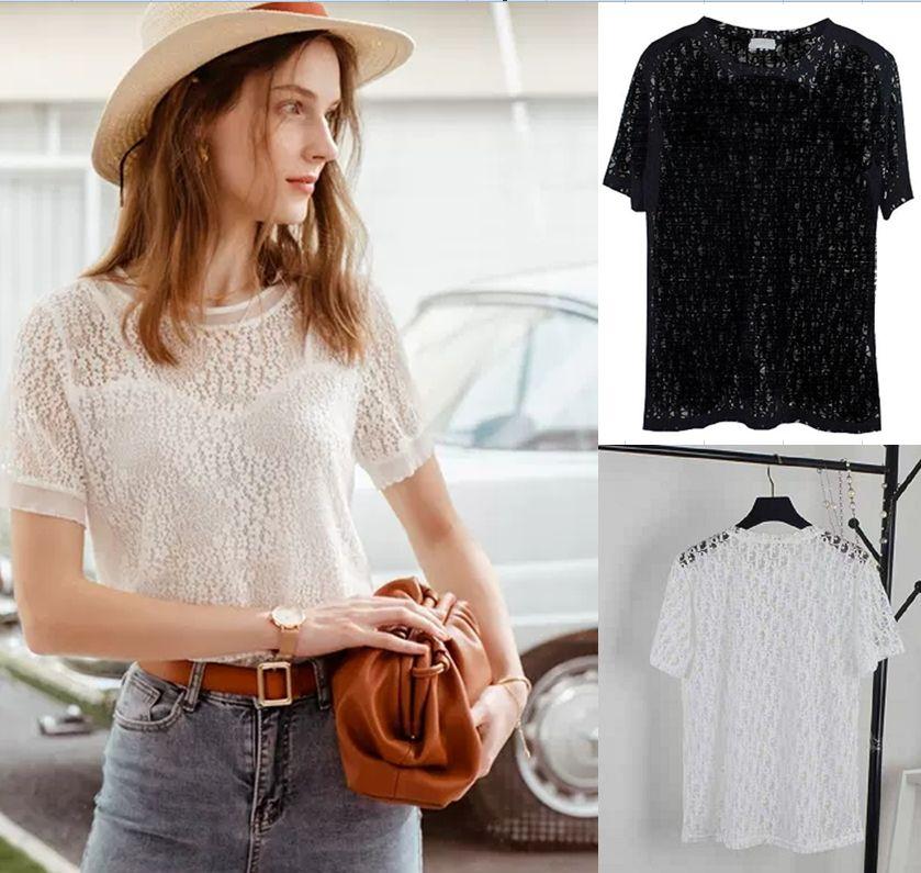 Summer Womens Blusa elegante rufle blusas hueco hacia fuera hombre carta camiseta camiseta top streetwear t shirts Blouses Streetwear Hip Hop Top Top Top