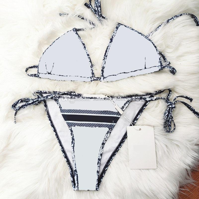 Klasik Mektup Mayo Şık Çizgili Seksi Bikini Kapalı Omuz Backless Bikiniler Moda Plaj Mayo Kadın Spor Mayo Mayo