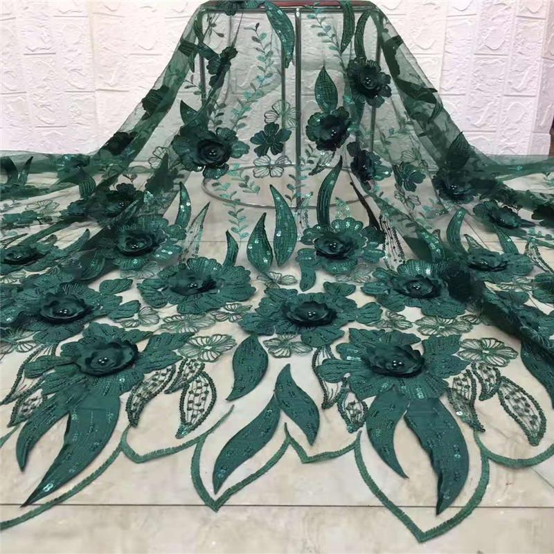 2021 beaded sequins lace African Emerald green lace fabric high quality beautiful nigerian wedding new design french dress