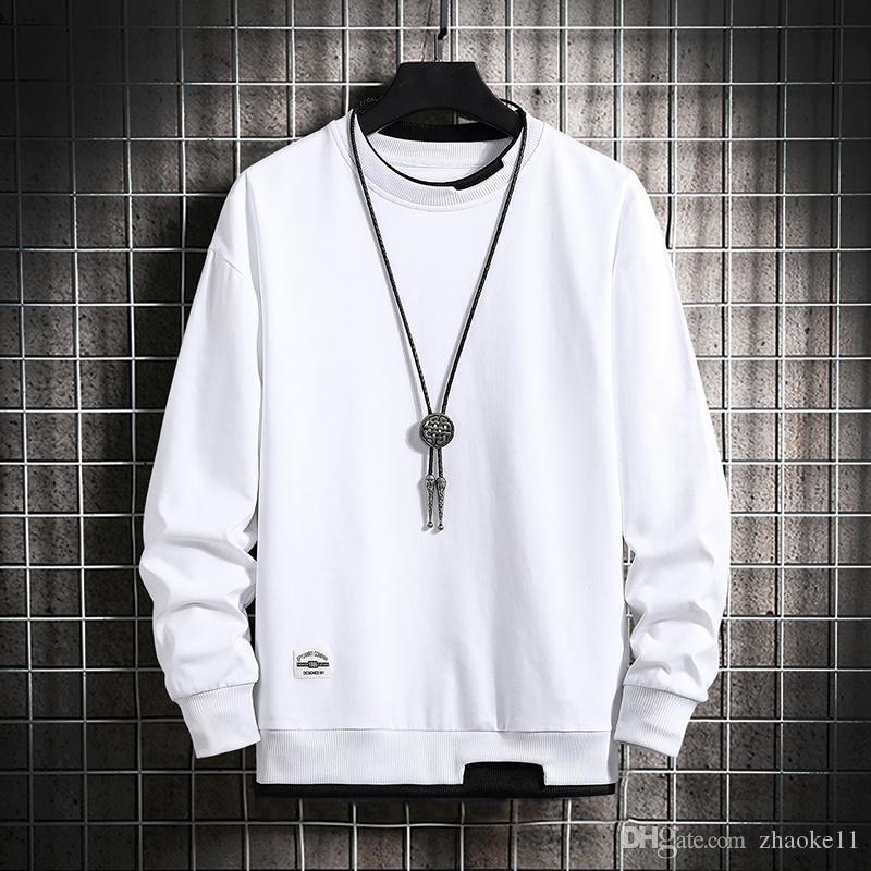 Homens Hip Hop Hoodies Falso Collar Outono Moda Rua Vestuário Brand New Homens Pulôver Moletom Com Capuz Camisola Manga Longa O-pescoço Camisa