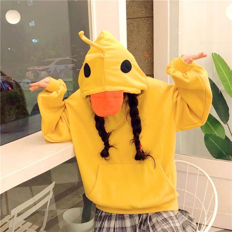 Damen Hoodies Sweatshirts Frauen Tops Sweatshirt Super Feuer Faule Stil Plus Samt Verdickte Gelbe Ente Cartoon Jacke lustiges Mädchen Süß