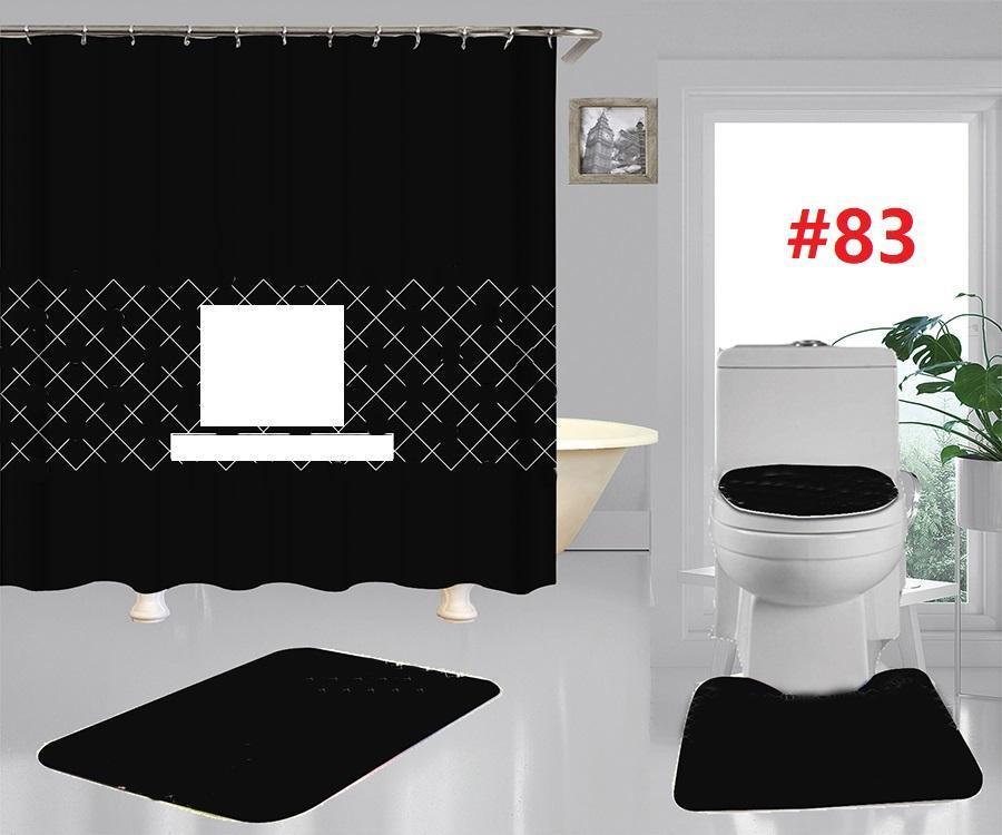 Модные дизайнерские душевые занавески наборы дизайнер печатных ванн занавес коврик для ванной комнаты ковров не скольжения туалетные коврики 4 частей
