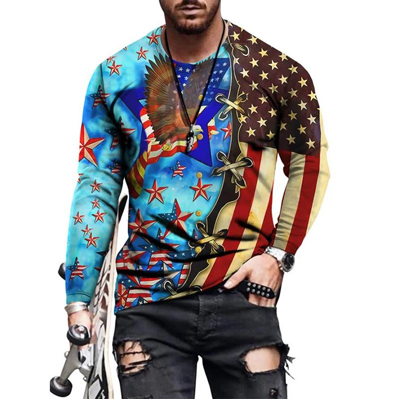 Drape Mens 3D Print T-shirt Visual Impact Party Top Streetwear Round Neck High Quality Long Sleeves Graphic Optical Illusion Plus Size Daily Tops
