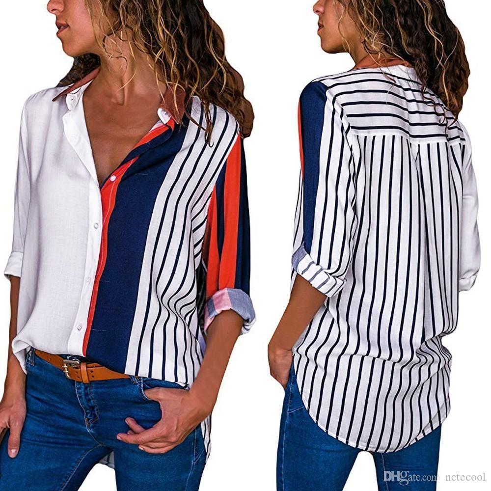 여성 블라우스 컬러 블록 스트라이프 셔츠 우아한 사무실 레이디 블라우스 캐주얼 긴 소매 버튼 셔츠 탑스 화학