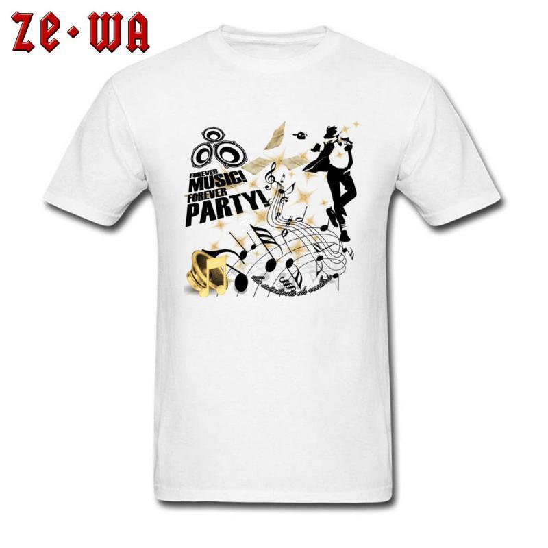 T-shirt da uomo Arrivo Forever Music Party Stampato Top Colletto rotondo 100% Cotton Men Tops Camicia manica corta T Shirt Hip Hop