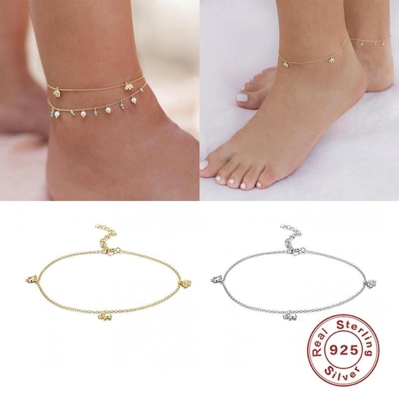 925 Sterling Silber Minimalistische Fußketten Tobilleras Sandalen Beinkette Knöchelarmbänder für Frauenliebhaber 'Valentinstag Geschenke T200901