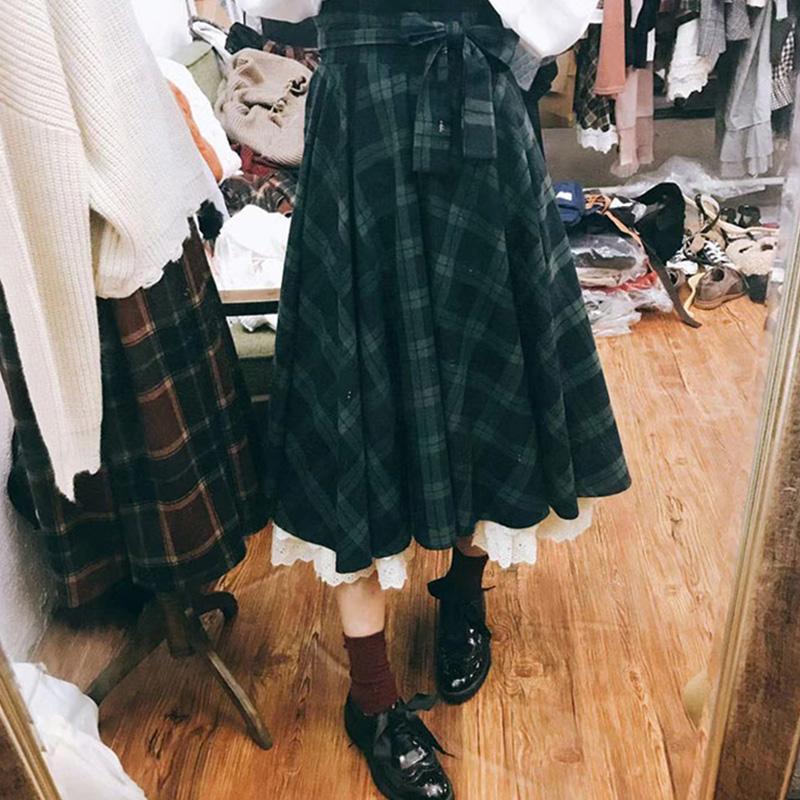Japonés Preppt Style Falda a cuadros Mujer Ropa Mujer Cintura Alta Arco Mujer Kawaii Faldas de Algodón Mori Girl A187