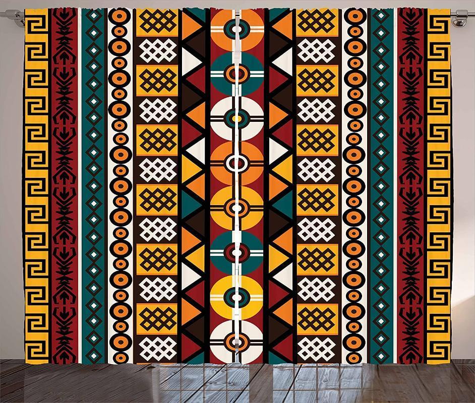 Vorhangdrapes Kente Muster Vorhänge Vertikale Grenzen inspiriert von Timeless Kulturen Geometrischer Design Wohnzimmer Schlafzimmerfenster