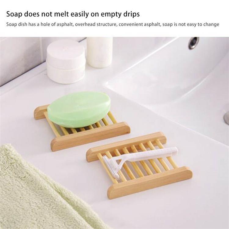 100 ADET Bar Ürünleri Doğal Bambu Tepsiler Toptan Ahşap Sabun Bulaşık Worens Sabun Tepsi Tutucu Raf Plaka Kutusu Konteyner Banyo Duş Banyo 41 S2