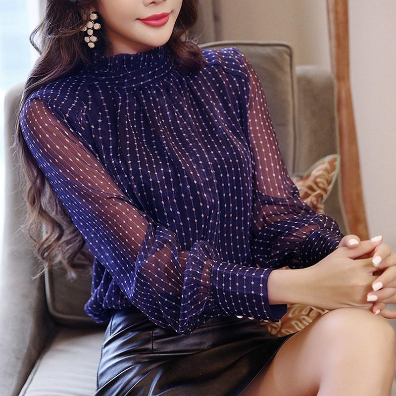 Women's Blouses & Shirts 2021 Summer Woman Top Blusa Mujer Lace Chiffon Blouse Women Shirt Long Sleeve Womens Tops And Ladies