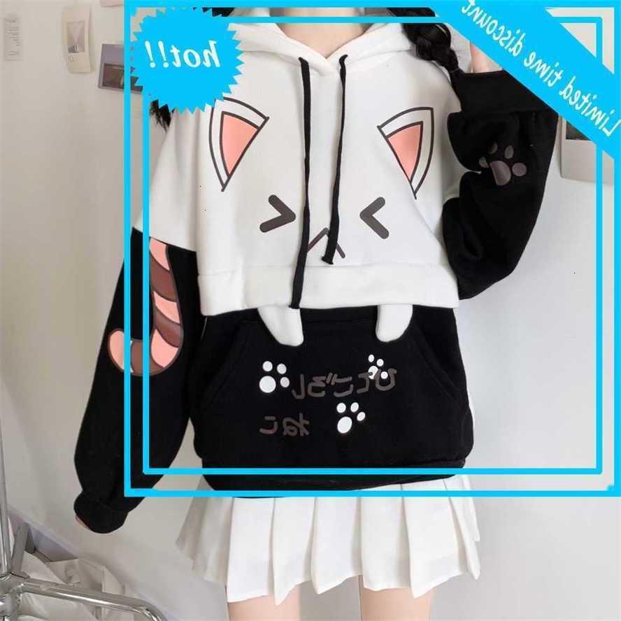 Neuer Frühling Harajuku Nette Rosa / Schwarze Frauen Sweatshirt Cartoon Katze Hoodie Weibliche Kawaii Japanische Fleece Sweatshirts Top Mujer