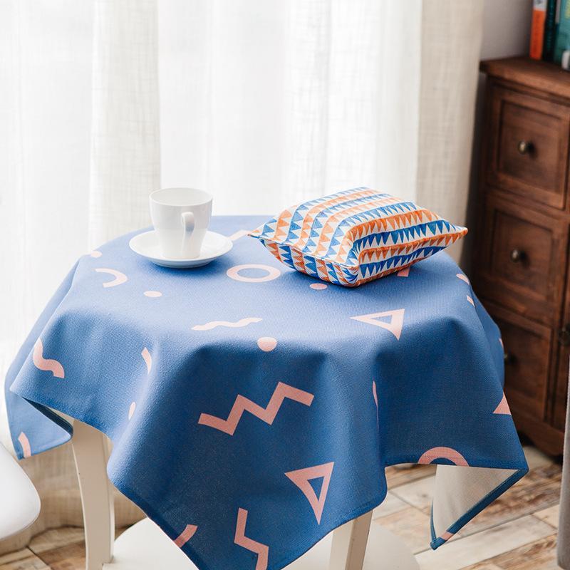Geometrik desen pamuk keten masa örtüsü bahçe kumaş yuvarlak masa kare masa kahve bezi c