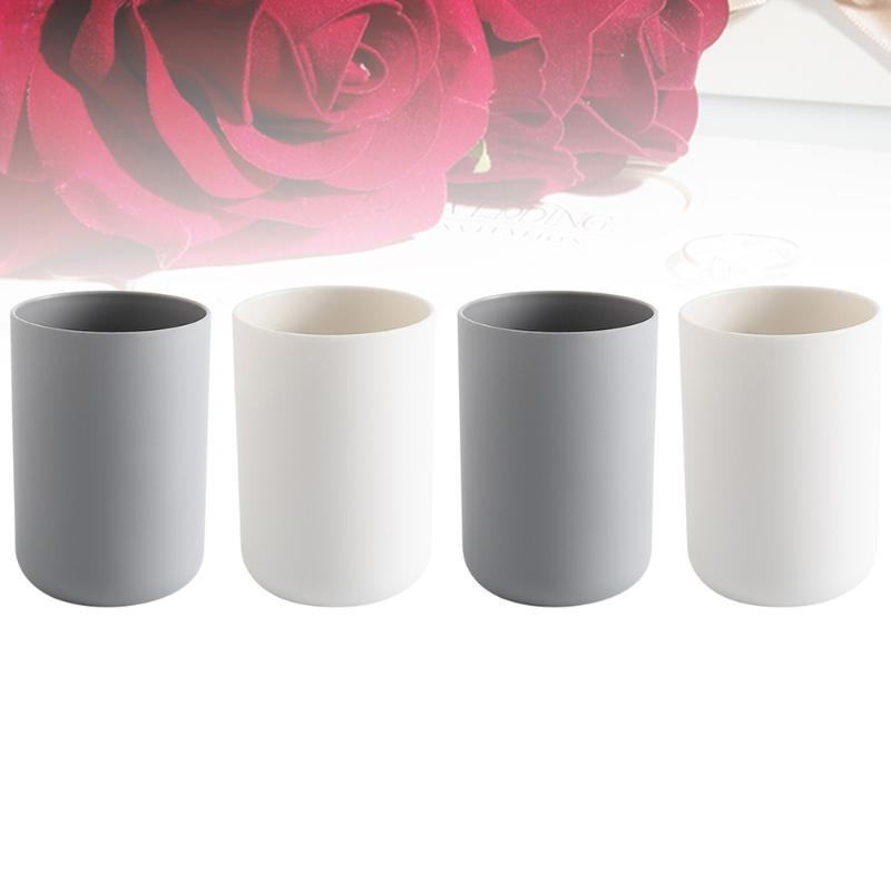 Cups & Saucers 4PCS 300ML Tooth Mugs Toothbrush Toothpaste Holder Bathroom Countertop (Grey And White For Each 2pcs)