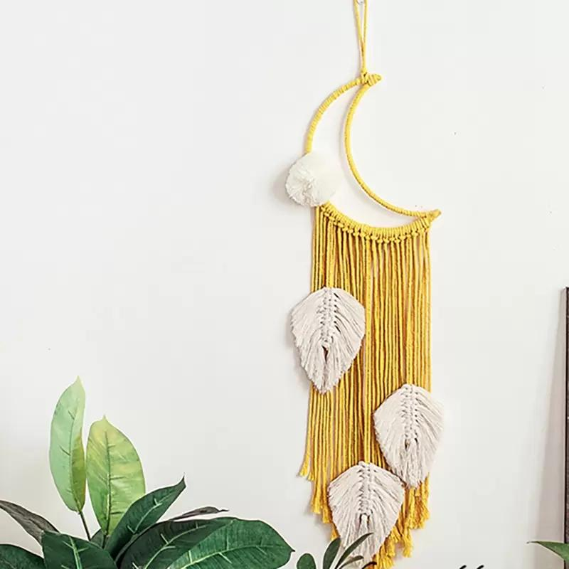 Moon tassel yellow Macrame Wall Hanging Tapestry DIY Handmade Woven Home Decor For Bedroom Woven Boho Tapestry hanging