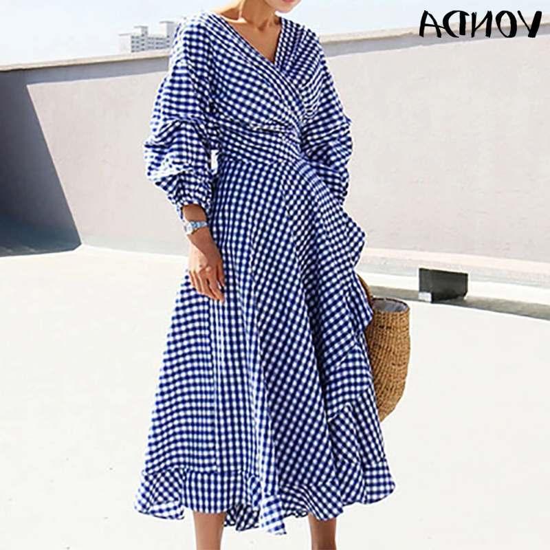 Elegante Oficina Vestimenta 2020 Vintage Dot Punto impreso Playa Playa Sundress Mujeres Casual Vestido suelto Más Tamaño Vestidos S-5XL J0301