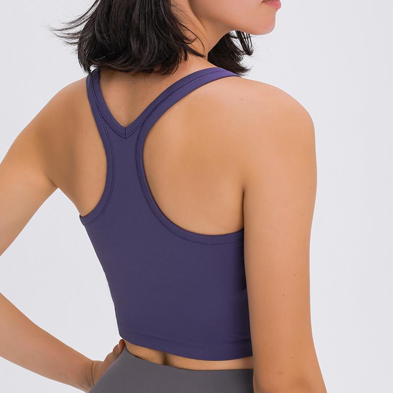 L-104 Kadınlar Tank Tops Yoga Eğitim Spor Gömlek Seksi Yelek Hızlı Kuru Nefes Gym Kısa T Slim Fit Darbeye Spor İç Giyim Tops