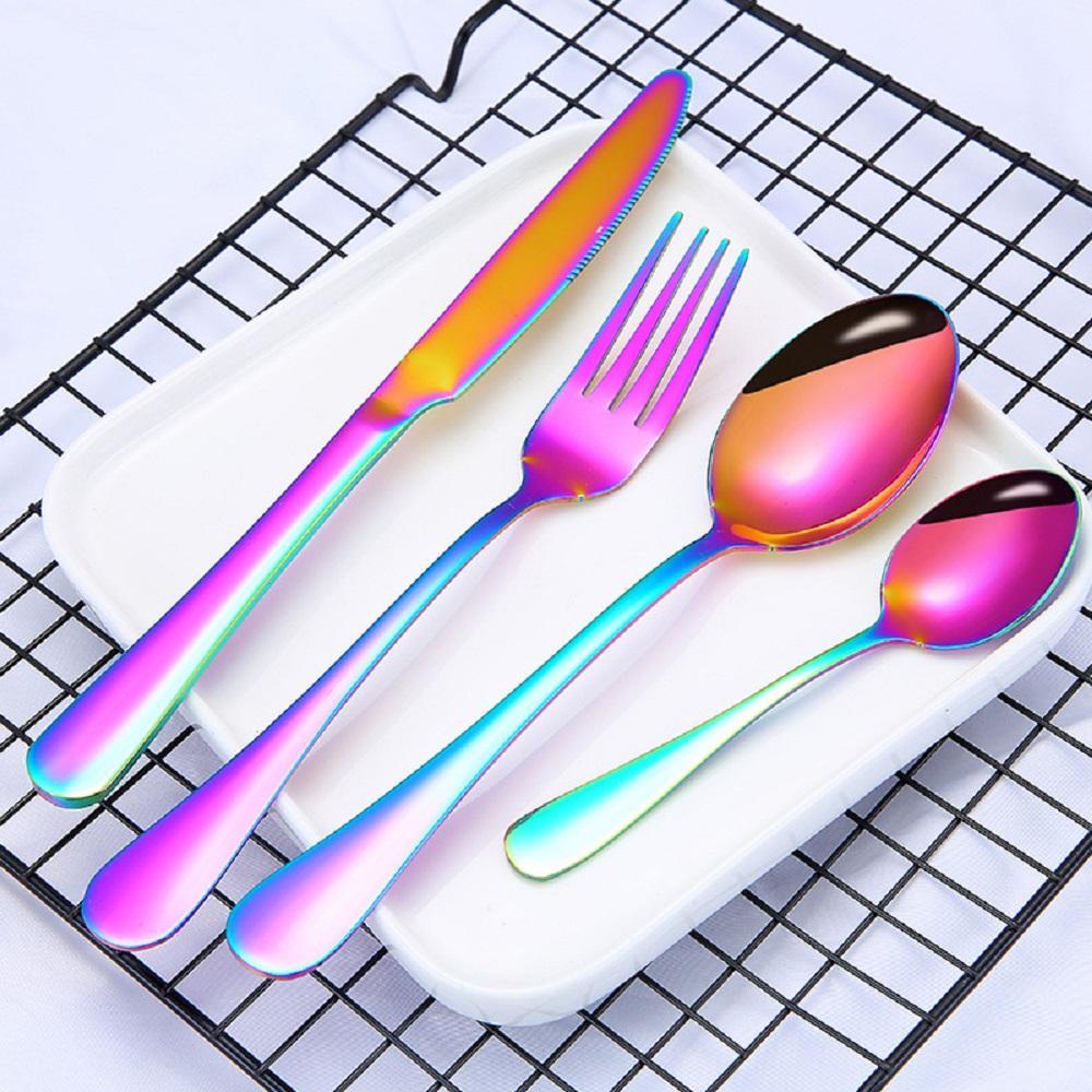 5 colores Cubiertos de oro de alta calidad Set de flotware Set Cuchara Tenedor Cuchilla cucharadita de cucharadita de vajilla inoxidable Conjunto de vajillas de cocina
