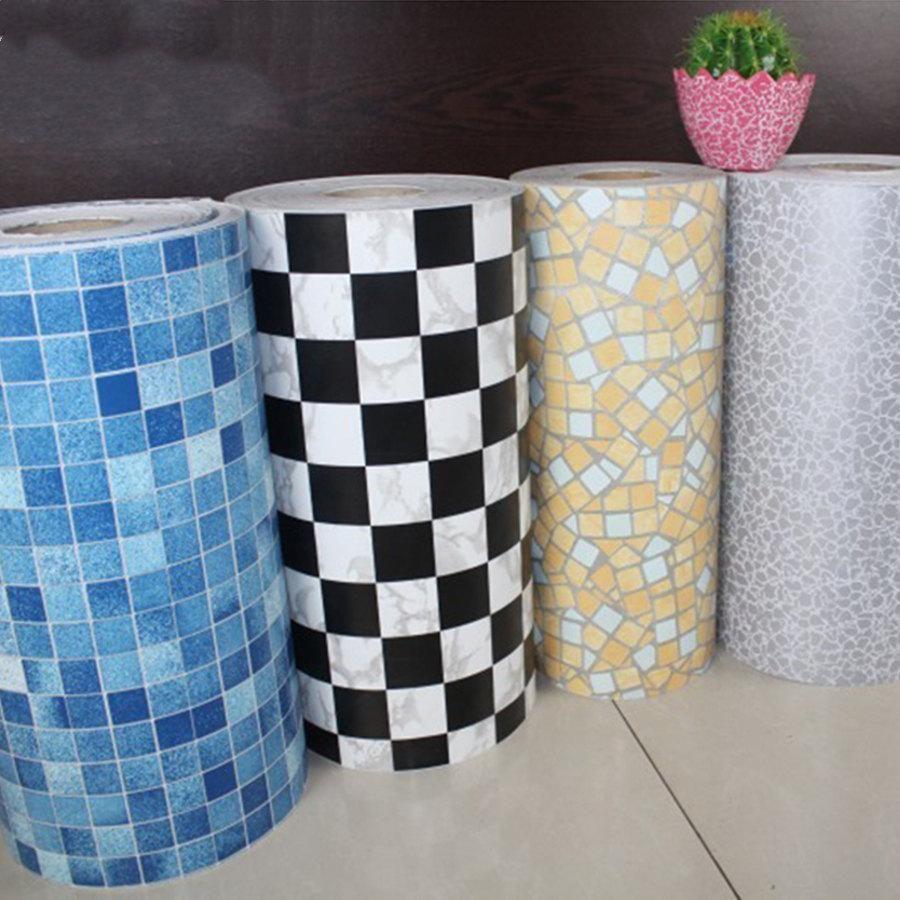 5m telhas de banheiro impermeável adesivo de parede vinil pvc mosaico auto adesivo anti adesivos de óleo diy wallpapers decor