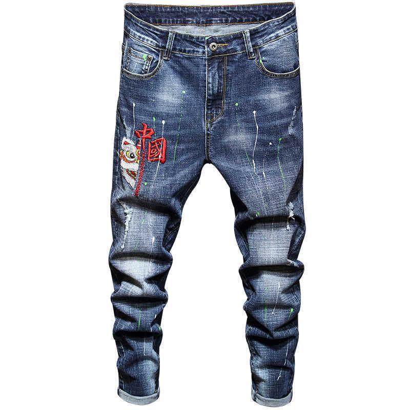 Trendy Mode Hommes Business Retro Broderie Jeans Printemps Automne Stretch Drad Denim Pantalons Slim Marque Slim Pantalons 210531
