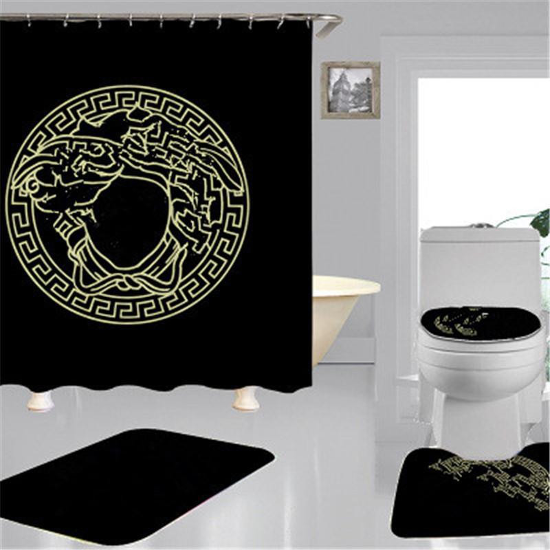 Wholesale vente chaude rideau de douche salle de bain classique motif de douche rideaux neufs mode maison polyester no-slip mat