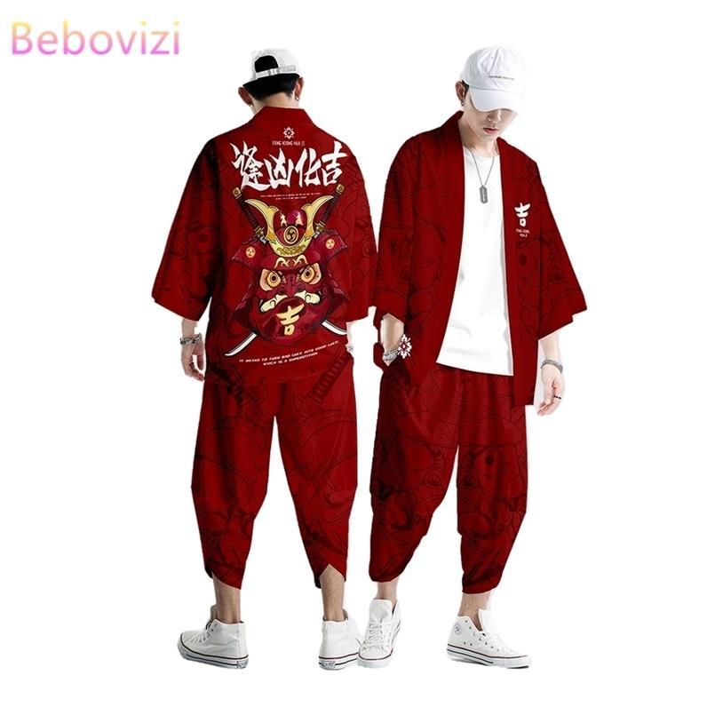 Plus Größe XS-6XL rot Glückkuhdruck Japanischer Stil Mode Kimono und Pant Set Männer Frauen Strickjacke Haori Obi Asiatische Kleidung 210603