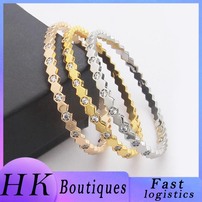 Charm Bracelets HK Boutique Gold-plated/silver-plated Diamond Bracelet Female Christmas Gift Gold Party Jewelry