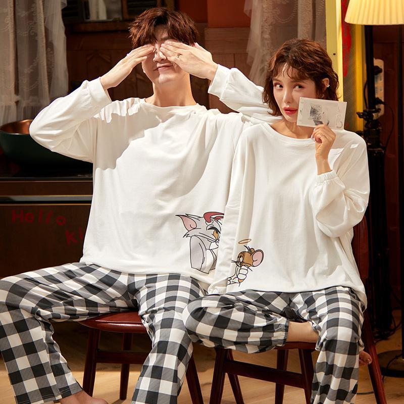 Men's Sleepwear Cke PUREcotto Pullover Long Sleeve Trousers Boy Girl Pajama Jammies Autumn Winter Couples Lovers Casual O-neck Nightwear Pyj