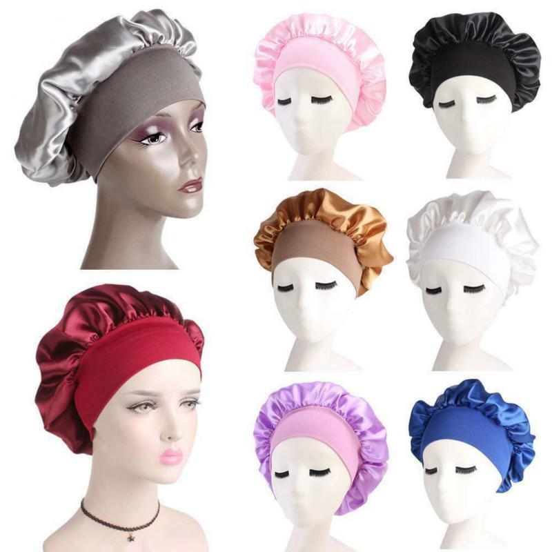 Nueva moda de gran tamaño satinado seda noche noche tapa cabeza sombrero baño impermeable limpieza higiene suspano impermeable sombrero proteger el pelo rizado