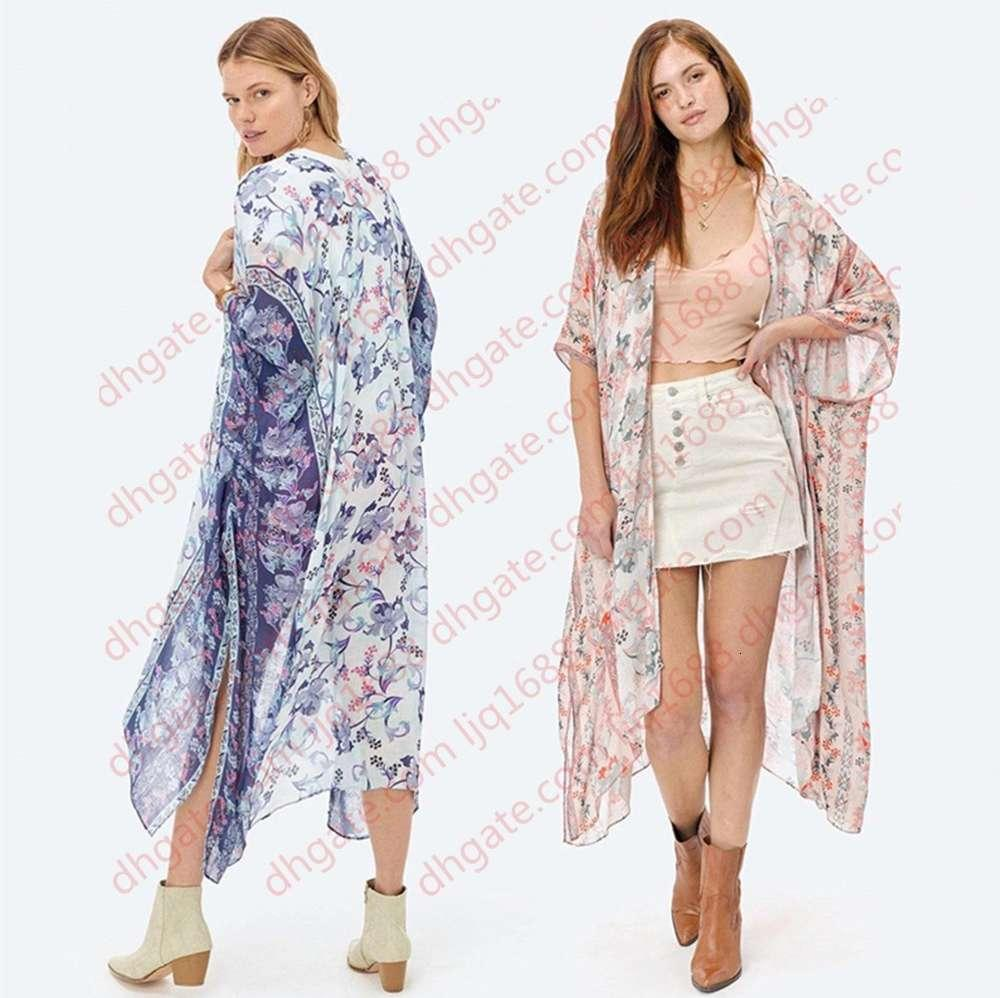 Kadınlar Çiçek Baskı Bohemian Uzun Kimono Hırka Bluzlar Boho Batwing Kollu Casual Plaj Tatil Bluz Gömlek Mayo Kapak-UPS Yeni