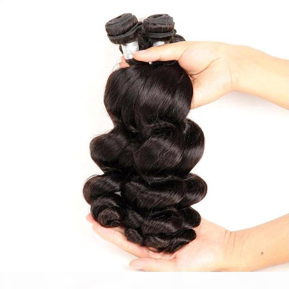 Saç Fabrika Kaynağı En Iyi 10A Perulu Bakire İnsan Saç Demetleri Gevşek Dalga 4 Adet 400g Lot Doğal Renk Bir Donör Manikürden
