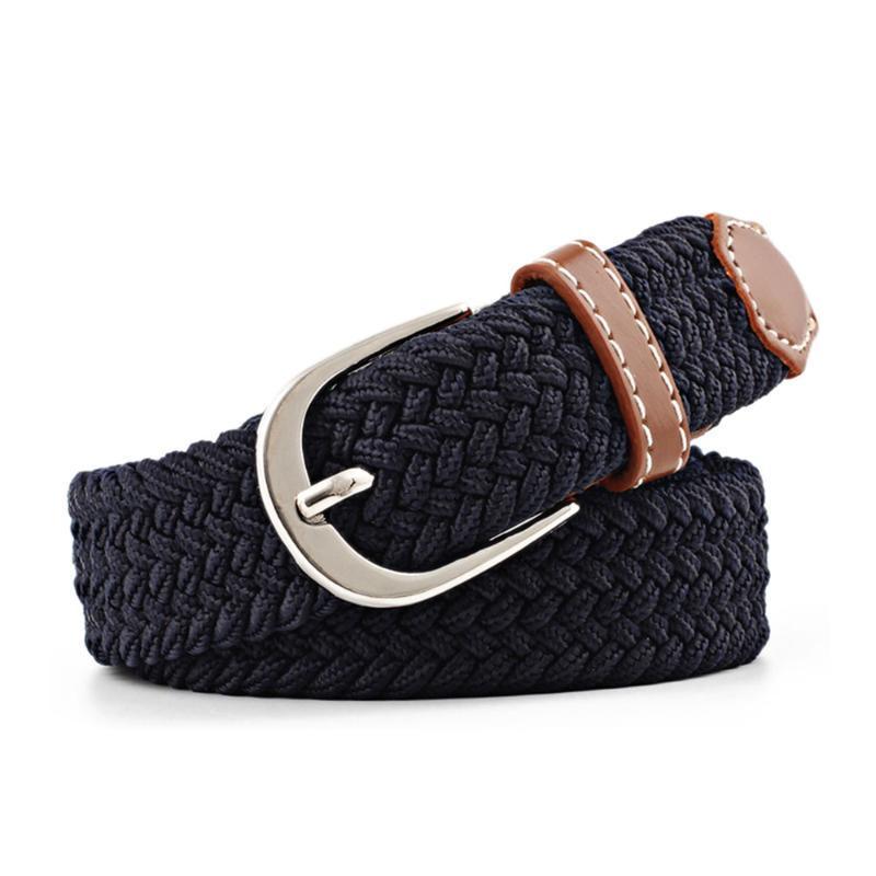 أحزمة 1 قطع الرجال النساء عارضة محبوك دبوس مشبك حزام المنسوجة قماش مرنة تمتد عادي حزام 2021 الأزياء 100-120 سنتيمتر