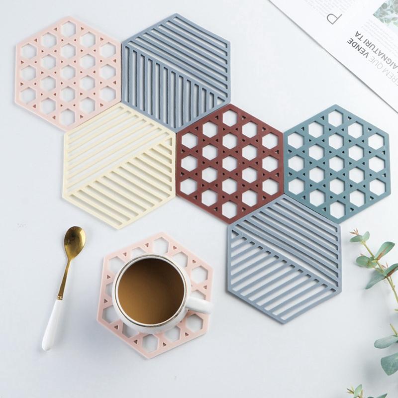 Paspaslar Pedleri Kaymaz Masa Mat Geometrik Hollow Hükümlü Tasarım Çay Isı Yalıtımlı Kase Placemat Ev Mutfak Aksesuarları