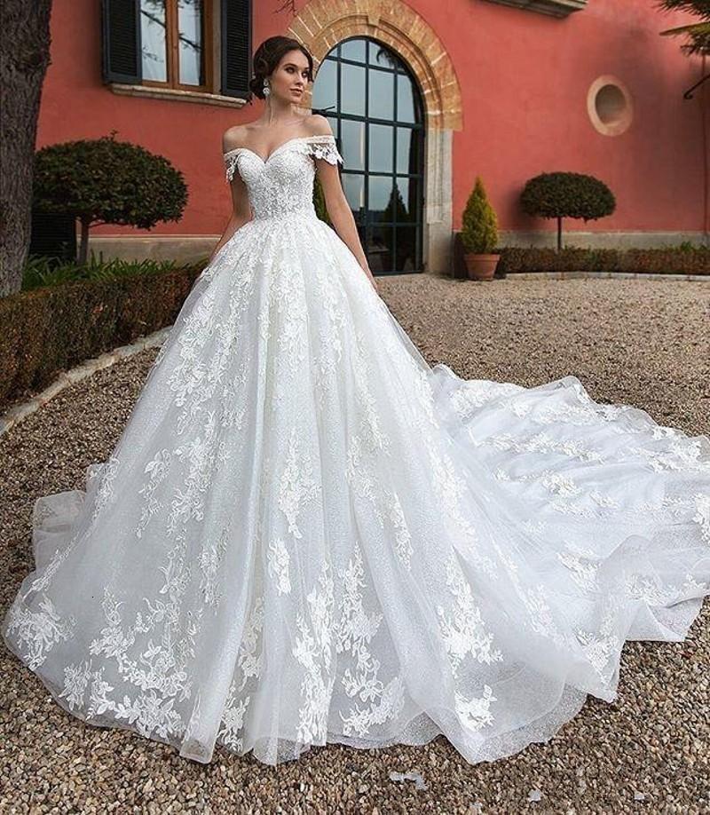 Новый скромный 2021 принцесса с плеч кружева линия ES Appliques свадебные платья свадьба плюс размер Vestidos de Noiva 65x9