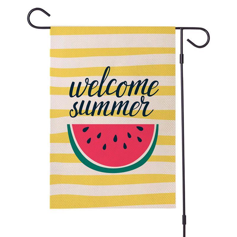 Padrão de fruta verão flax jardim bandeira olá verão melancia limão abacaxi impresso lado duplo flag zze5149