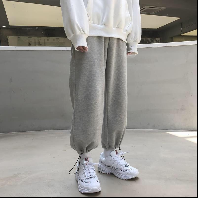 Beiläufige graue Schweetwear Frühling Frauen Hosen Mode koreanische Art Baggy Sweed Wide Bein Jogger Hose