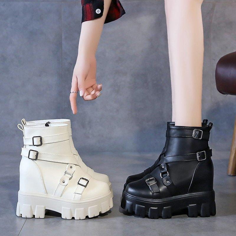 Rimocy Plataforma de plataforma Botas de tobillo para mujer Altura Aumento de la hebilla metálica Botas cortas negras Mujer Otoño Invierno Punk botines 7