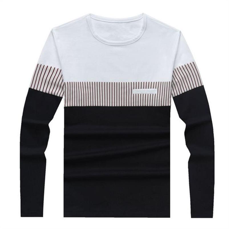 T Gömlek Erkekler Pamuk Uzun Kollu O Boyun Çizgili Erkek Tişörtleri Moda Patchwork Nedensel Slim Fit T Gömlek Adam Marka Erkek Giyim 210719