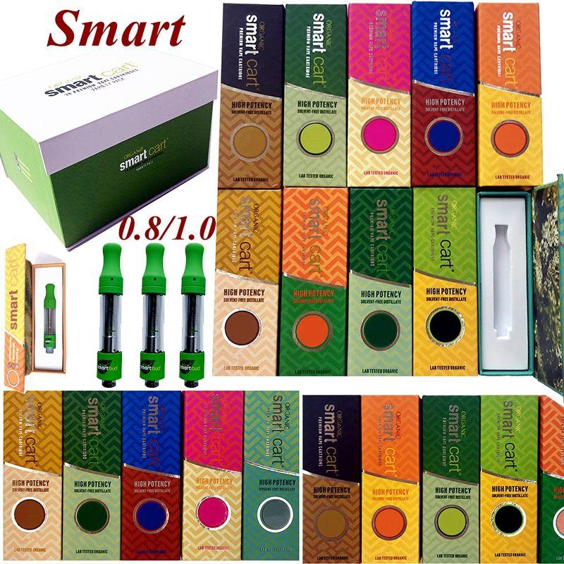 마그네틱 박스 스마트 카트 vape 카트리지 포장 분무기 smartbud 0.8ml 1ml 510 세라믹 빈 펜 펜 카트 두꺼운 오일 왁스 기화기 전자 담배