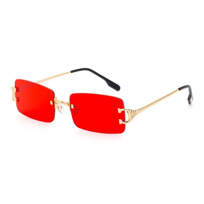Moda Çerçevesiz Metal Kare Güneş Gözlüğü Erkekler için Renkli İsteğe Bağlı Moda Güneş Gözlüğü Kadın Güneş Gözlüğü