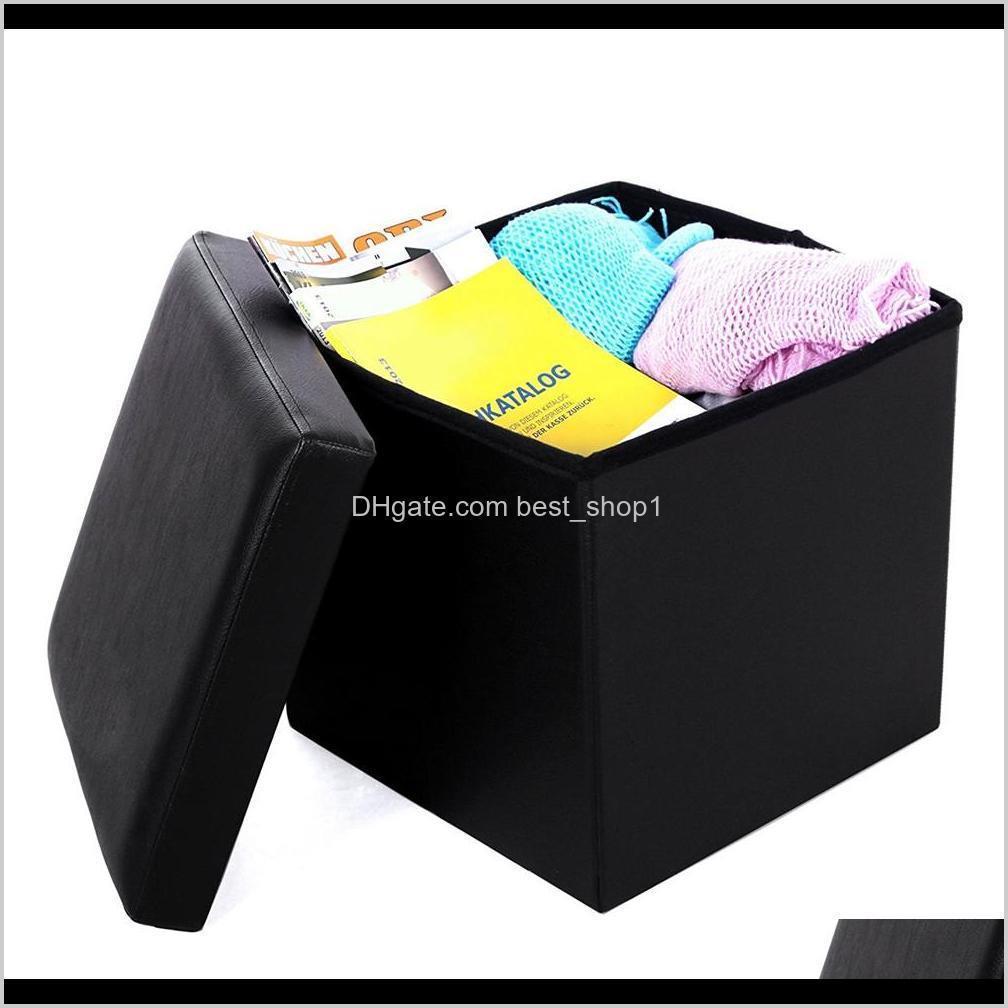 Vendita calda Cassaforte Poggiapiedi Quadrato Storage Ottomani e poggiapiedi Pratico PVC in pelle PVC Classic Black Durevole Poggiapiedi Myifp C0DGJ