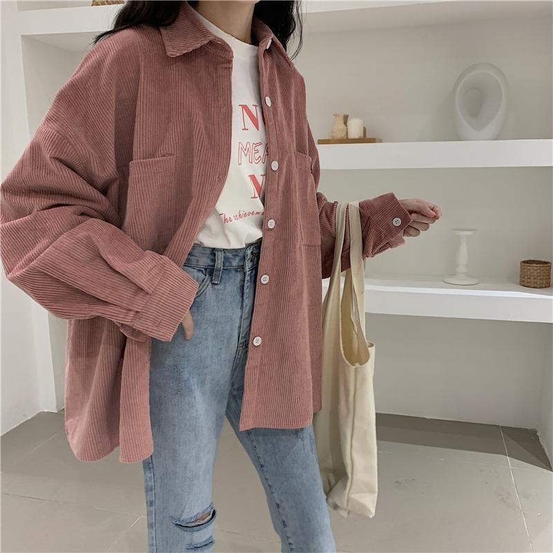 Camicie da donna Camicie 2021 Cappotto di primavera Corduroy Casual Top Coreano Solid Solid Solid Moda Moda Camicetta Plus Size Donne Abbigliamento