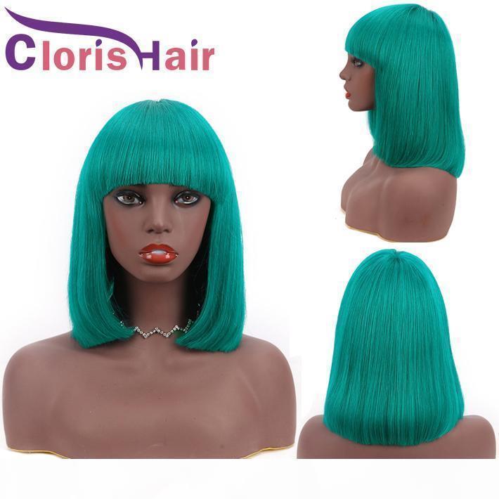 짧은 밥 가발 페루 레미 스트레이트 프론트 비 레이스 천연 인간의 머리 가발 150 % 밀도 프린지 가발 녹색 컬러 glueless 가발