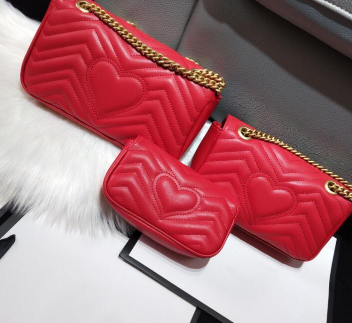 التصميم الكلاسيكي أعلى جودة التصميم الكلاسيكي سيدة عشاق القلب حقائب الكتف حقائب امرأة سلسلة crossbody مكياج حقيبة 3 szie l m s النقل المجاني