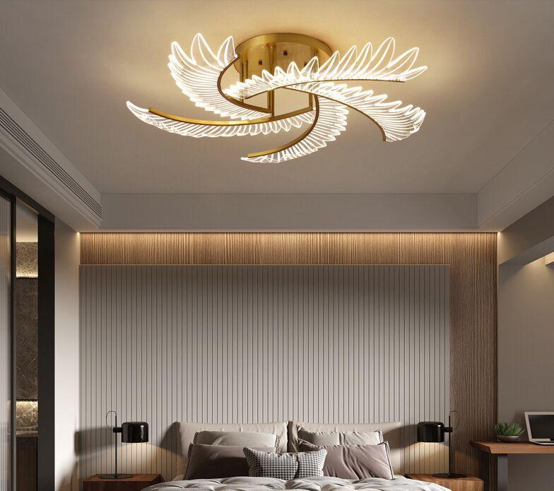 Lampadario di lusso Creativo Camera da letto in rame Lampadario I lampadari del soffitto romantico Semplice moderna luce nordica Lampade a LED AC110V 220V