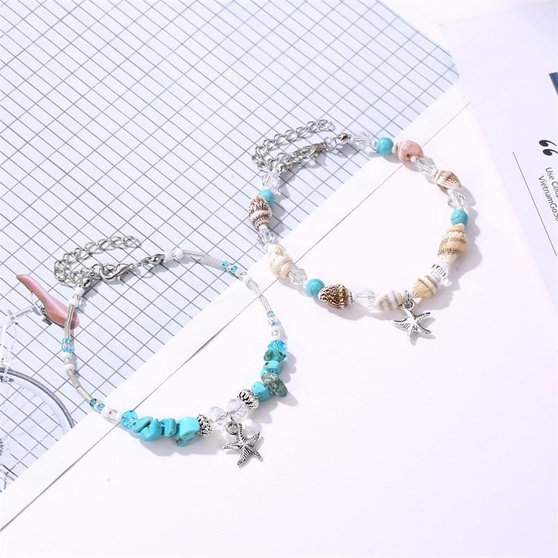 Neuf Coquille Naque Canneaux de Corde pour femmes pour femmes Bijoux Summer Beach Bref Barefoot Bracelet Bekle sur la jambe pour femme 2021