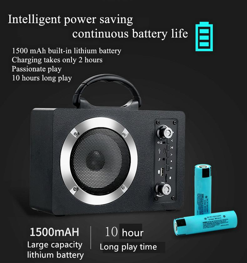 Wooden Wireless Bluetooth Speaker Portable Outdoor Card FM AUX Audio HIFI Bluetooth Speakers MP3 Music Player Large Sound