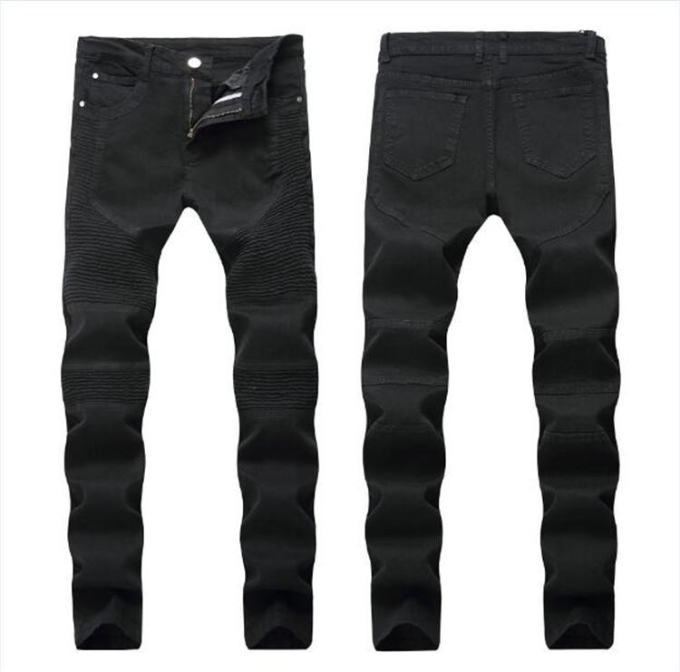 Erkekler Sıkıntılı Yırtık Kot Moda Motosiklet Biker Kot Nedensel Kot Pantolon ABD Boyutu 28 ~ 42 Streetwear Stil Erkek Kot JS2110