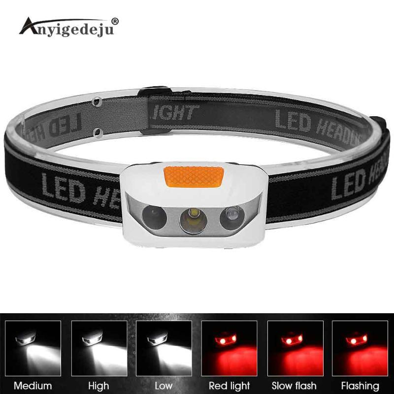 Mini Headlight Battery Powered Red Light Flash White Headlamp XBD LED Head Light Torch Emergency Lantern For Night Fishing