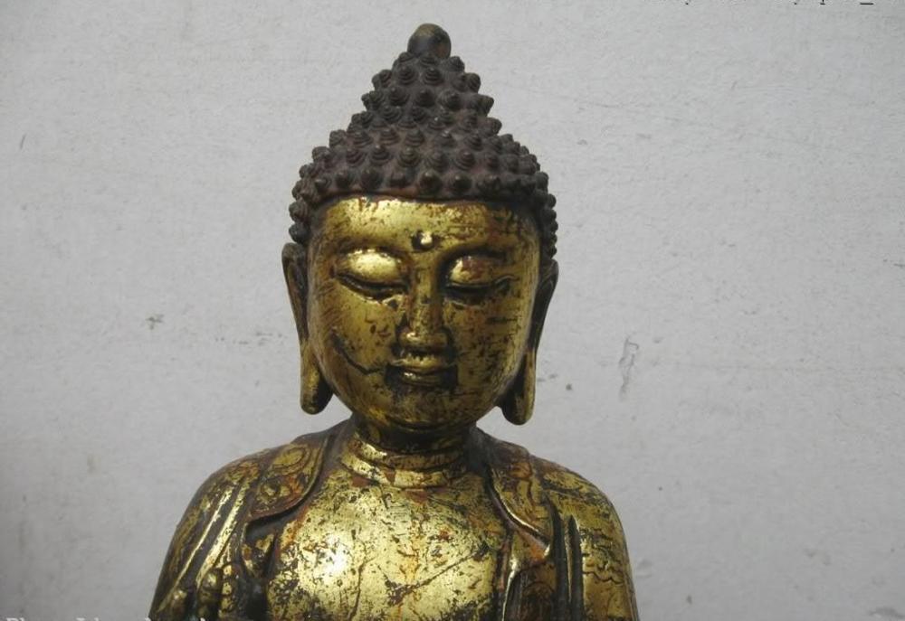 12 الصين التبت برونزية gild غرامة منحوتة من sakyamuni بوذا النحت تمثال